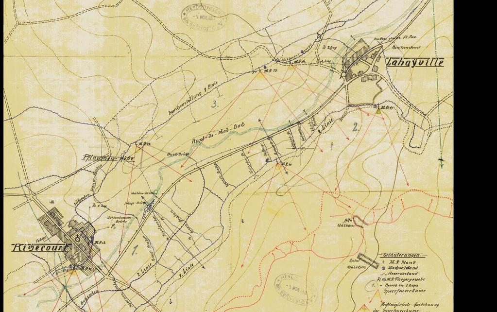 St. Mihiel Offensive: Battlefield Sites Richecourt and Lahayville, German Trench Map from 12 Nov.