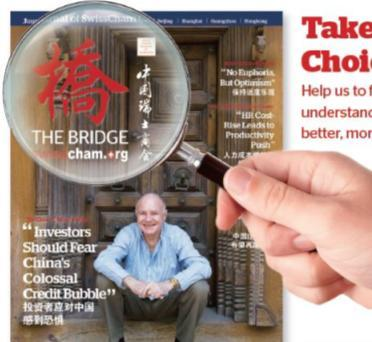 Newsletter of the Consulate General of Switzerland in Shanghai November 2013 11 The Bridge China Business Magazine - Since 2004 - Worth a Read Rate us, criticize or praise us!