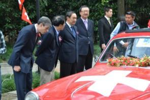 The arrival of the vintage cars at the Shanghai Hongqiao Guest House in Shanghai was supported by the Consulate General of Switzerland and the Consul General Mr.