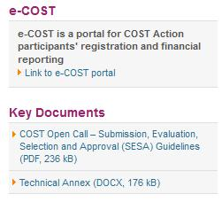 Open Call for proposals key documents Source: cost.