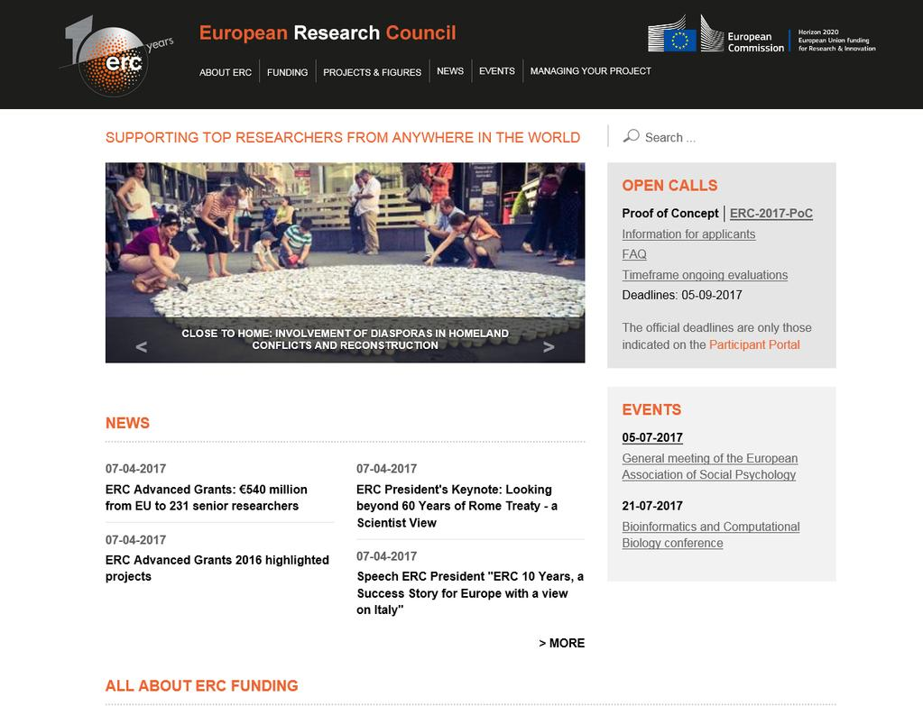 Important source of information erc.europa.