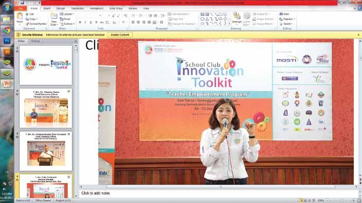 SCHOOL CLUB INNOVATION TOOLKIT 2013 activated in 100 schools Opening Ceremony officiated by YB Datuk Dr.