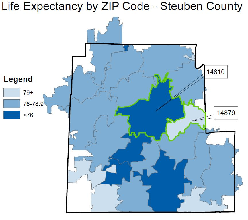 Life Expectancy Although average life expectancy in Steuben County is 77.5 years, how long residents live on average varies by more than 4 years depending on their ZIP code.