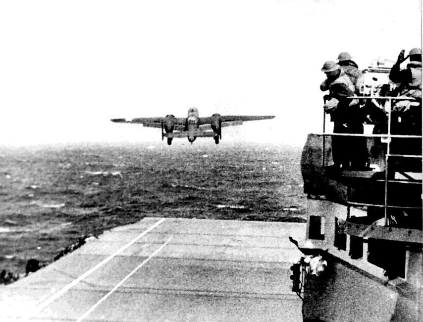 Doolittle Raid After many defeats, American moral was low. In April 1942, 16 American bombers launched from an aircraft carrier and bombed Tokyo.