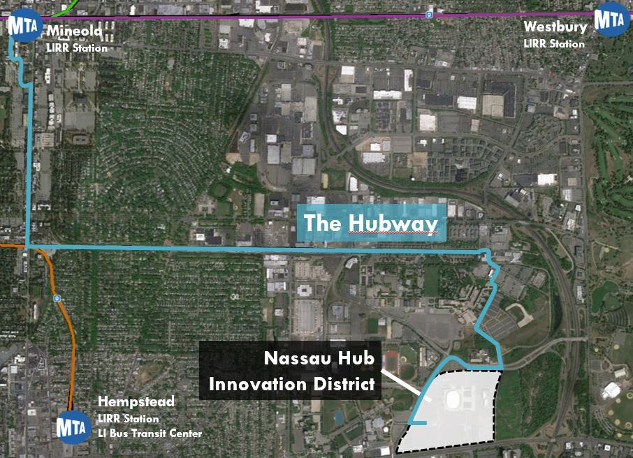 The lack of robust transit, wide roadways, and auto-oriented planning results in poor connectivity in the Nassau Hub area.