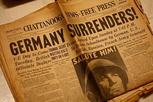 End of the War May 2nd - German forces in Italy surrender. May 4th - German forces in Holland, Denmark and N W Germany surrender. May 5th - Ceasefire on Western Front.