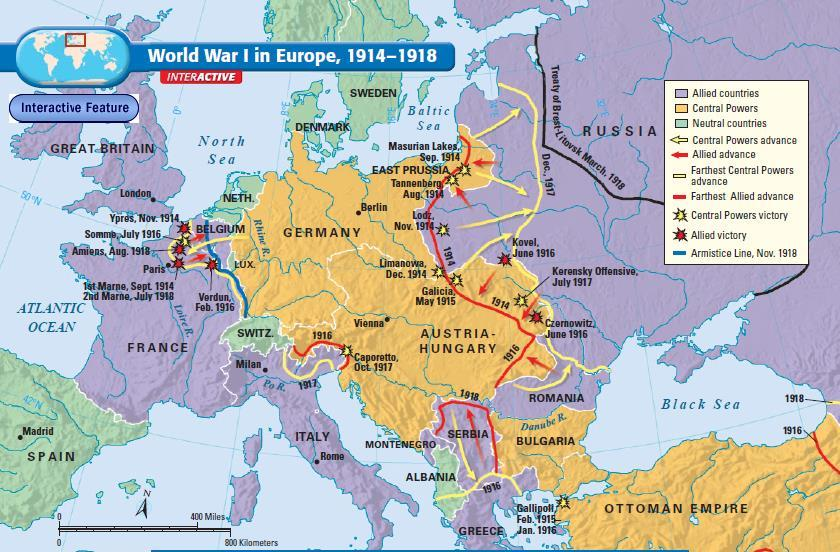 Because the Schlieffen Plan failed, the Central Powers were forced to fight a two-front war The fighting between Germany & France was known as the Western Front