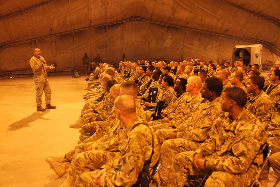 Sgt. Maj. Bryan B. Battaglia, Senior Enlisted Advisor to the Chairman of the Joint Chiefs, speaks to 3rd Infantry Division Soldiers about the future of U.S. forces serving in Afghanistan on Kandahar Airfield, Kandahar province, Afghanistan, May 5, 2013.