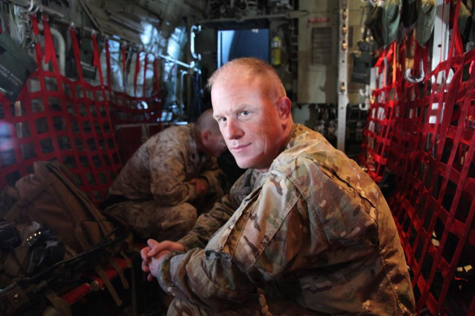 Chief Master Sgt. Frank H. Batten III, 9th Air and Space Expeditionary Task Force - Afghanistan, poses for a photo in a C-130 Hercules over Kandahar province, Afghanistan, May 6, 2013.