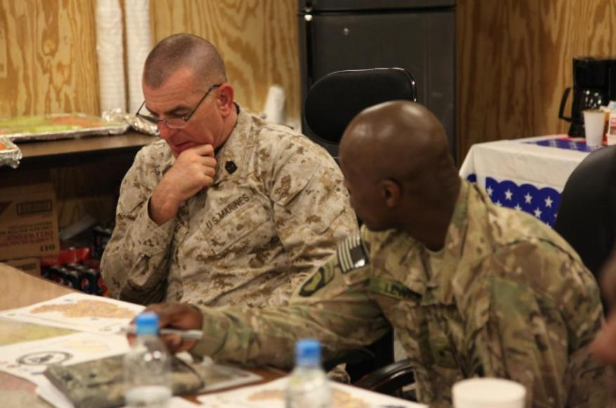 Sgt. Maj. Bryan B. Battaglia, Senior Enlisted Advisor to the Chairman of the Joint Chiefs, and Brig. Gen.