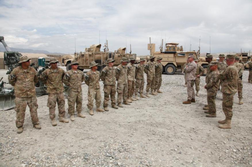 Soldiers with 3rd Platoon, Alpha Battery, 5th Battalion, 82 Field Artillery Regiment, 4th Brigade, 1st Cavalry Division, are given words of encouragement from Sgt. Maj. Bryan B.