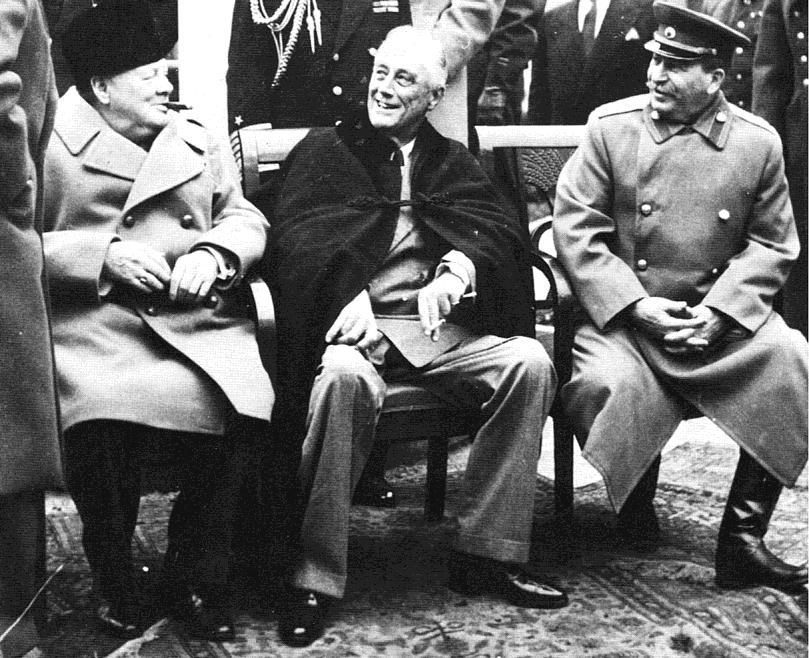 In February 1945, as the Allies pushed toward victory in Europe, an ailing FDR met with Churchill and Stalin at the Black Sea resort of Yalta