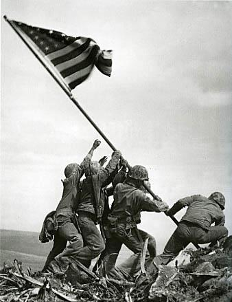 during the battle for Iwo Jima, U.S. Marines raised a flag atop Mount Suribachi.