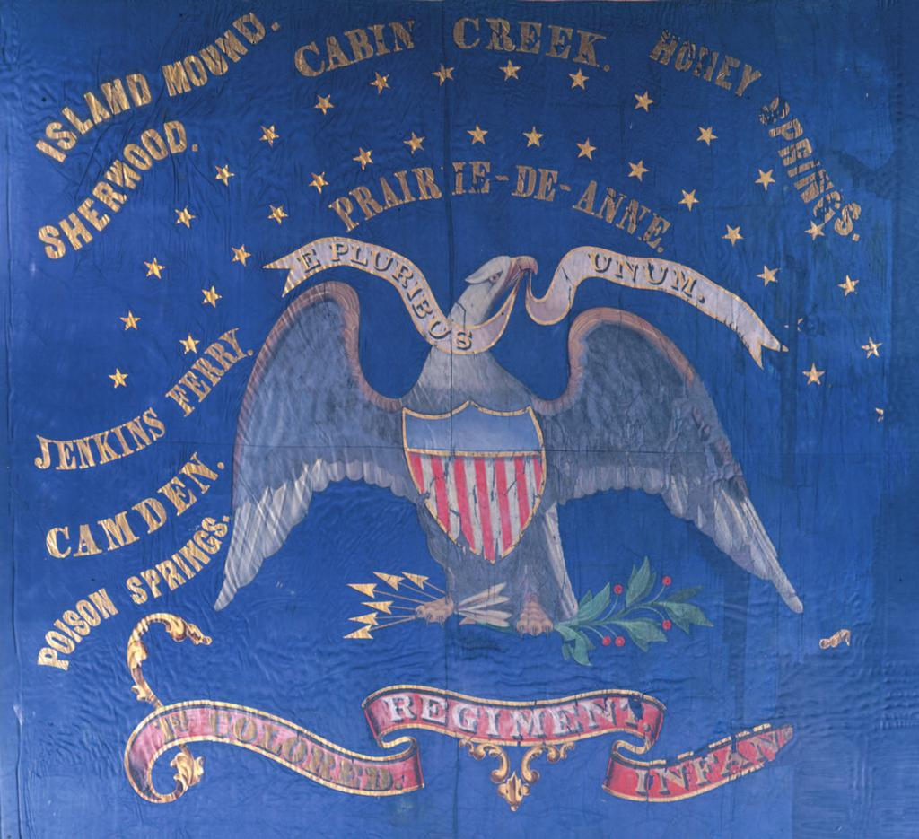 The flag of the st Kansas Colored Infantry This blue silk regimental flag was carried into battle by the st Kansas Colored Infantry, the Civil War s first African American regiment from a northern