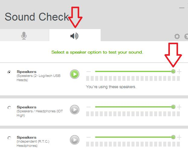 Select the speaker tab and then turn