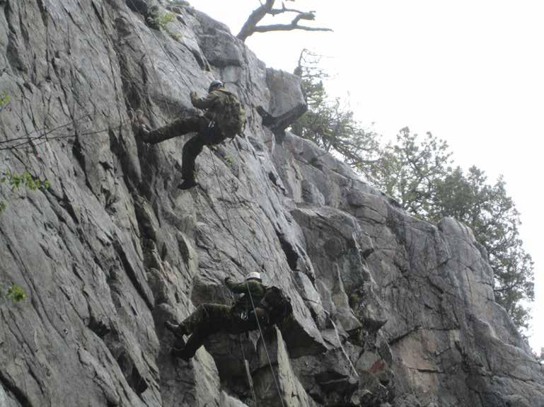 THIRD BATTALION Bravo Company Exercise MOUNTAIN SPARTAN by Lieutenant Ryan Cooper, Bravo Company High above on a rock face and hundreds of feet off the ground, soldiers of 3 PPCLI don Swiss seats and