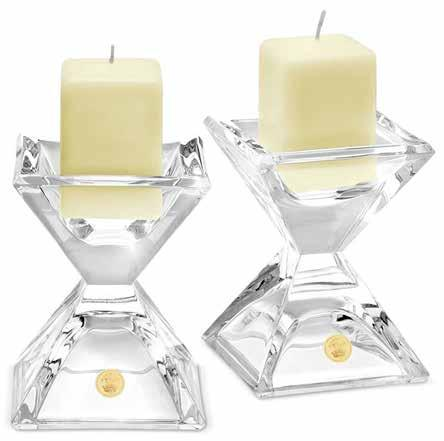 C801-G Crystal candle holders inset with