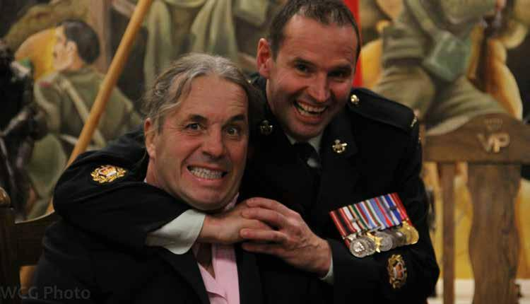 FIRST BATTALION Above; Bret The Hitman Hart with 1 PPCLI QMSI, MWO Brodeur. Photo: Sgt Gauthier, 1 PPCLI.
