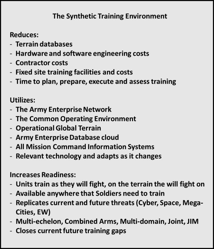 Synthetic Training Environment (STE) White Paper Combined Arms Center - Training (CAC-T) The Army s future training capability is the Synthetic Training Environment (STE).