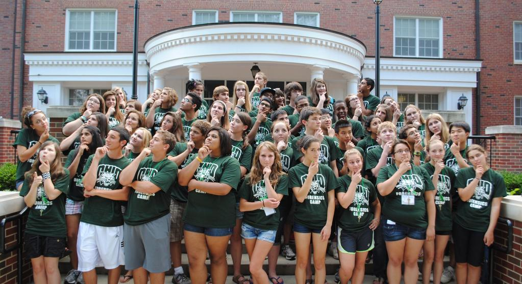Ohio University Forensics Camp July 8-14 in Athens, Ohio Interp, Oratory, Extemp, Impromptu, LD,