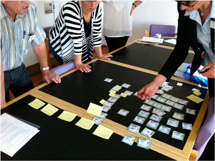 Friederike Thessel and her cards at work together with municipal staff in Syddjurs, August 2011.