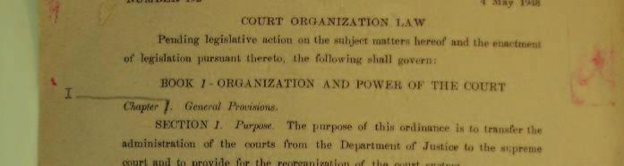 9e Court Organization Law as published in the Official Gazette of USAMGIK (4