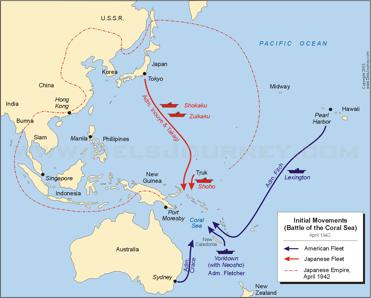 THE BATTLE OF THE CORAL SEA The tide began to turn in favor of the United States in 1942. The US defeated Japan in the Battle of Coral Sea, saving Australia from a Japanese invasion.