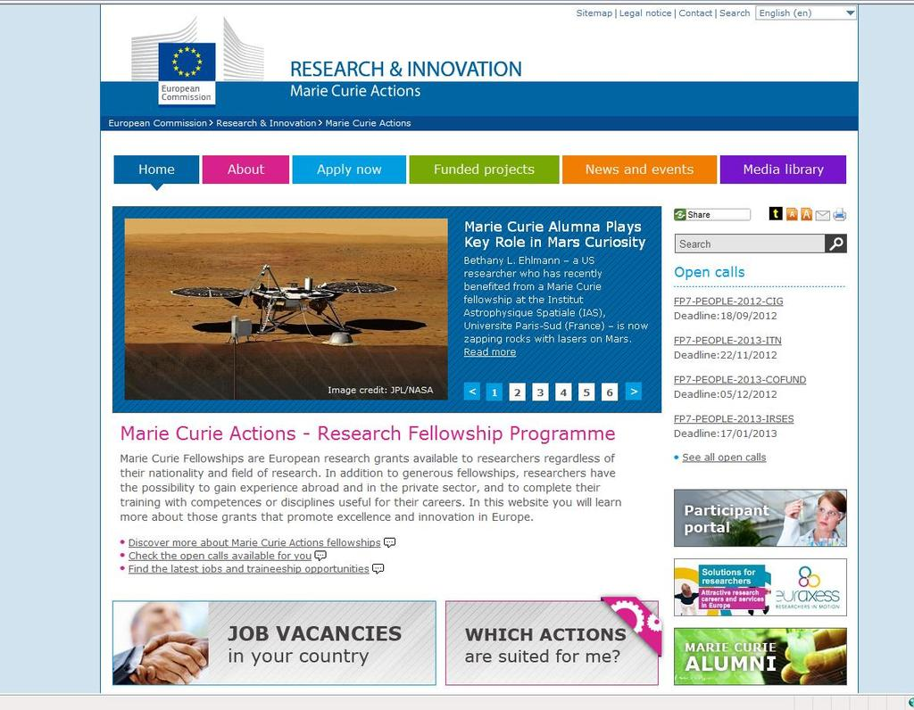 Information on Marie Curie Actions and link to FAQs Funded projects Calls currently open Published