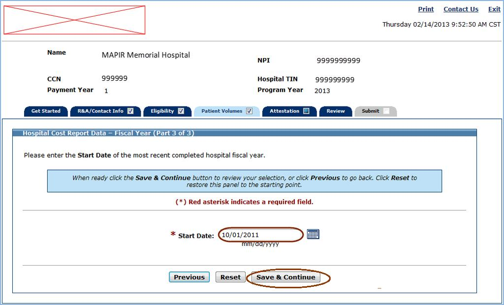 Hospital Cost Report Data Fiscal Year (Part 3 of 3) MAPIR User Guide for Eligible Hospitals Hospital Cost Report Data Fiscal Year (Part 3 of 3) The following screens will request hospital cost data.