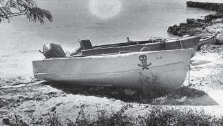 A typical example of the small boats used by Brigade 2506 to ferry the troops to the beaches (note the skull-and-crossbones insignia.