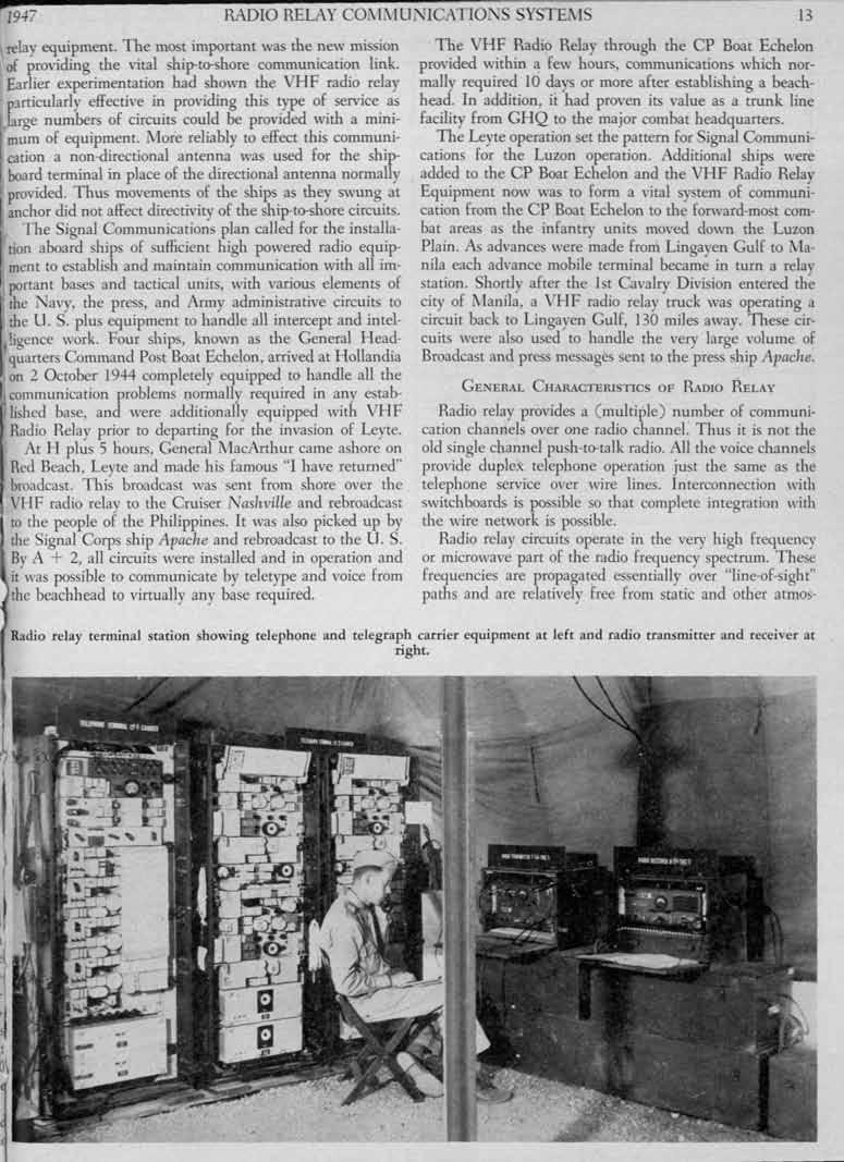 ...-- 1947 RADO RELAY COi\i\UNCATONS SYSTEi\S 13 relay equipment. The most important was the new mission of pro\'iding the vital ship-to-shore communication link.