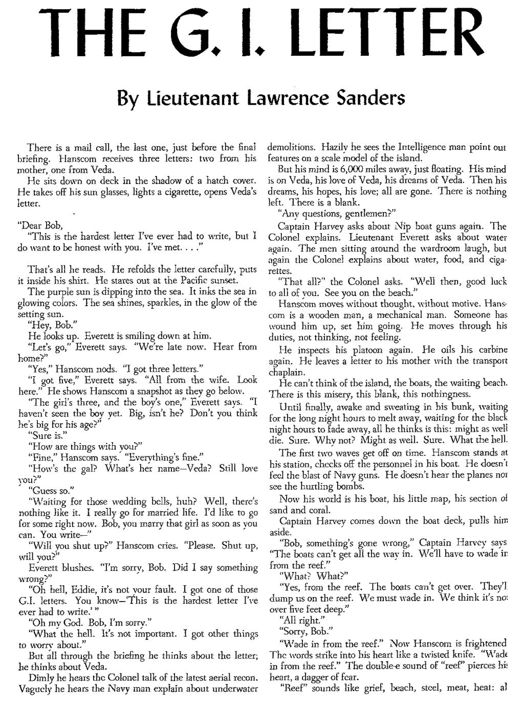 THE G.. letter By lieutenant lawrence Sanders There is a mail call, the last one, just before the final briefing. Hanscom receives three letters: two from his mother, one from Veda.