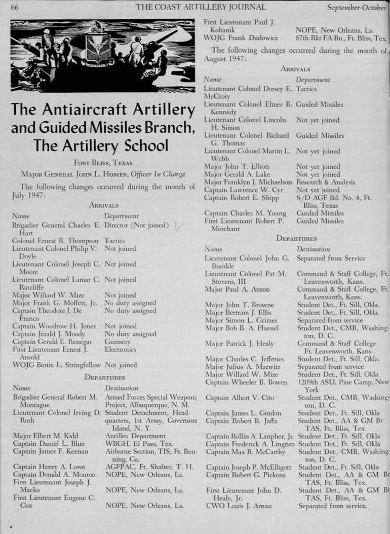 66 THE COAST ARTLLERY JOURNAL September-October The Antiaircraft Artillery and Guided Missiles Branch, The Artillery School ARRVALS Departmellt General Charles E.