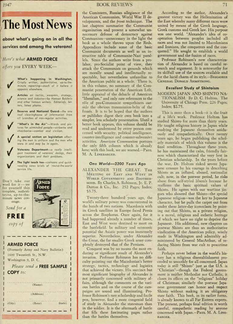 1947 BOOK REVEWS 71 The Most News about what's going on in all the services and among Here's what ARMED offers yo/l Send for a FREE copy of the veterans! What's happening in Washington.