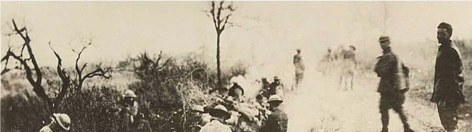 The troops slowly advanced through the heavy fog and German