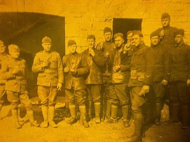 Photo of Hugh and some of his fellow soldiers taken in