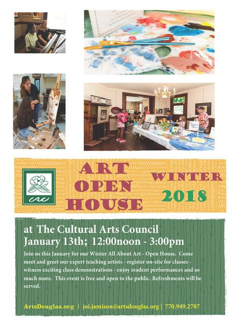 Cultural Arts Center Winter Open House 2018 Saturday, January 13, 12:00 p.m.- 3:00 p.m.: Join us on Saturday, January 13th from 12:00-3:00 pm as we present our Winter 2018 Open House.