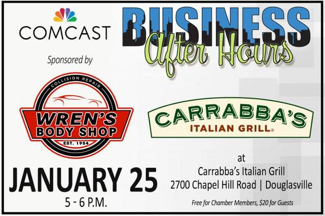 com) Comcast Business After Hours Thursday, January 25: Comcast Business After Hours is happening on January 25, 2018, from 5p-6p at Carrabba's Italian Grill at 2700 Chapel Hill Rd. Douglasville, Ga.