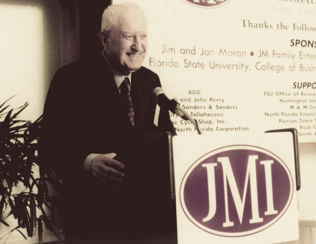 Our VISIONARY Born into humble beginnings, Jim Moran had a strong desire to succeed and believed in the power of hard work and giving back. As founder of JM Family Enterprises, Inc.