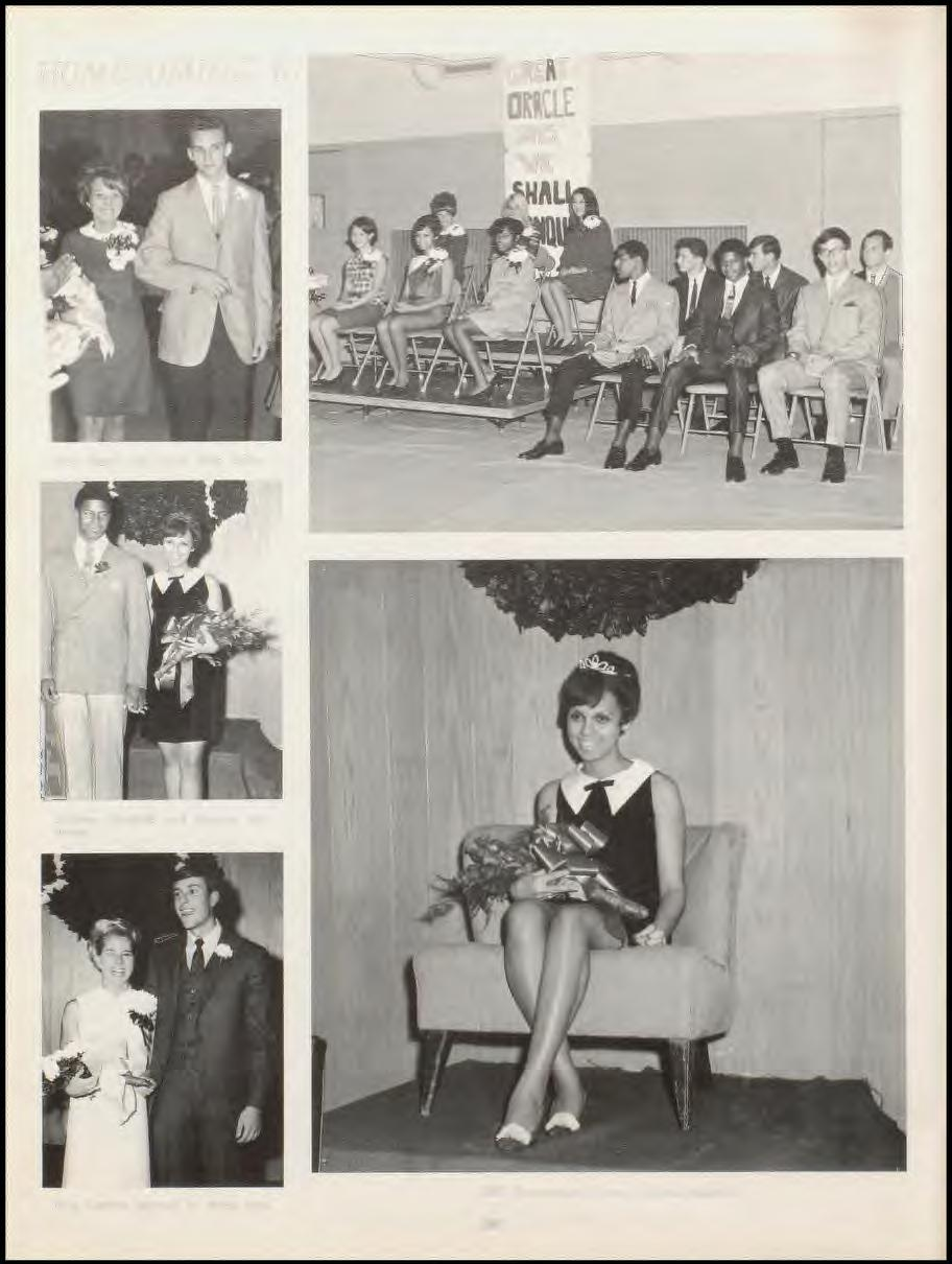 HOMECOMING '67 Mary Baird with l'~cort Hich Zeller Adelena J\1ar~hall an<l 'orman