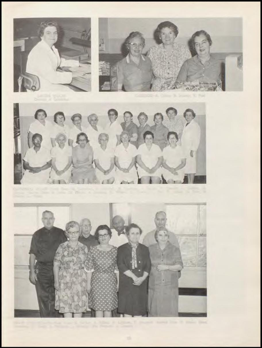 LOUISE WALES Director of Cafeterias CASHIERS- B. Criner, B. Murray, E. Fort CAFETERIA STAFF-Front Row: M. Crawford, A.