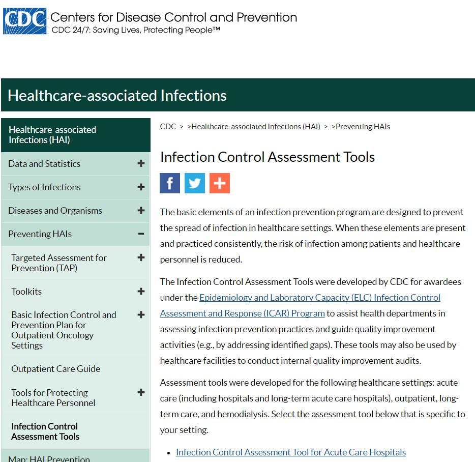 Infection Control Assessments Commonly observed practices: Hand hygiene Surgical procedures Use of contact precautions