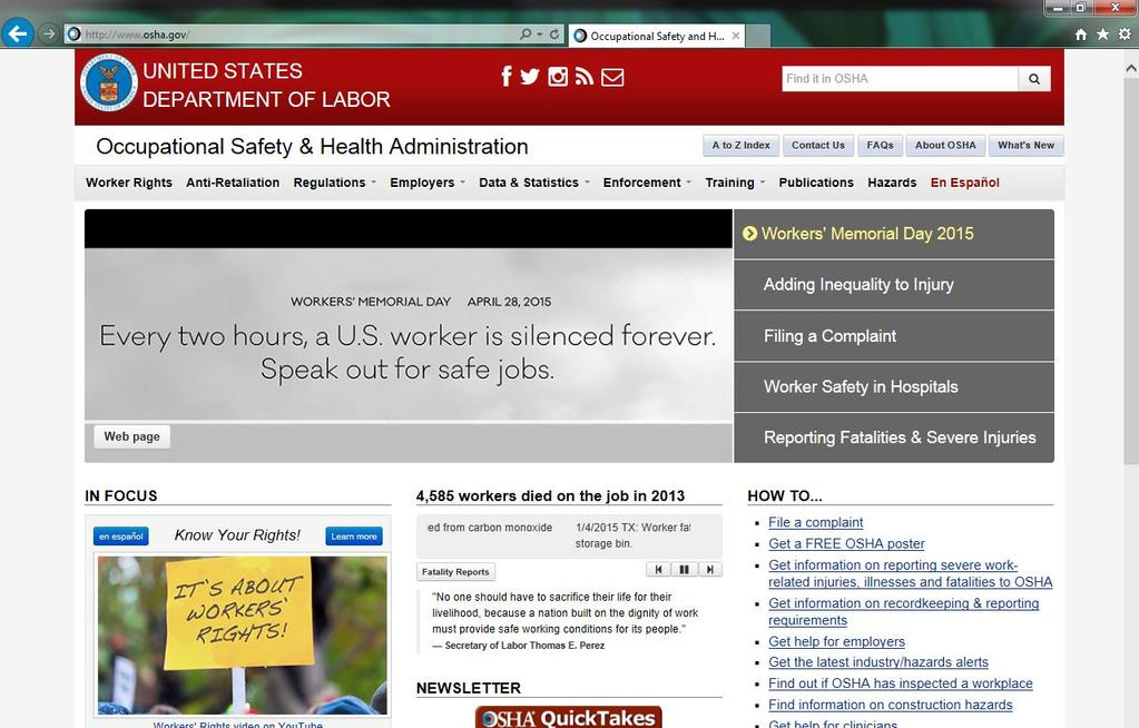Visit OSHA s web site for additional information.