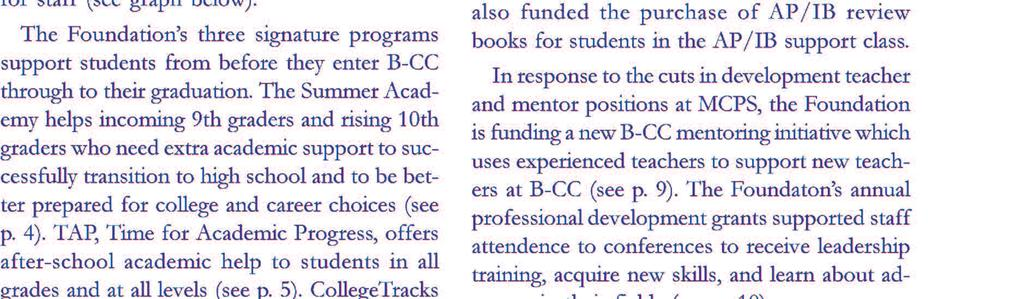 Foundation continued its mission of supporting academic excellence at B-CC. It worked cal skills.