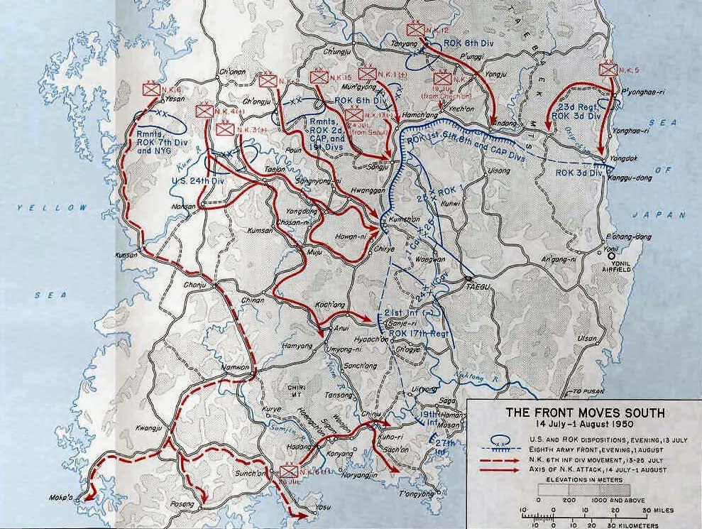 231 Map 1: The Front Moves South between 14 July and 1 August 1950 during the Korean War 424 During the war, Kim Il Sung made these significant because of his stereotype of the returned soldiers and