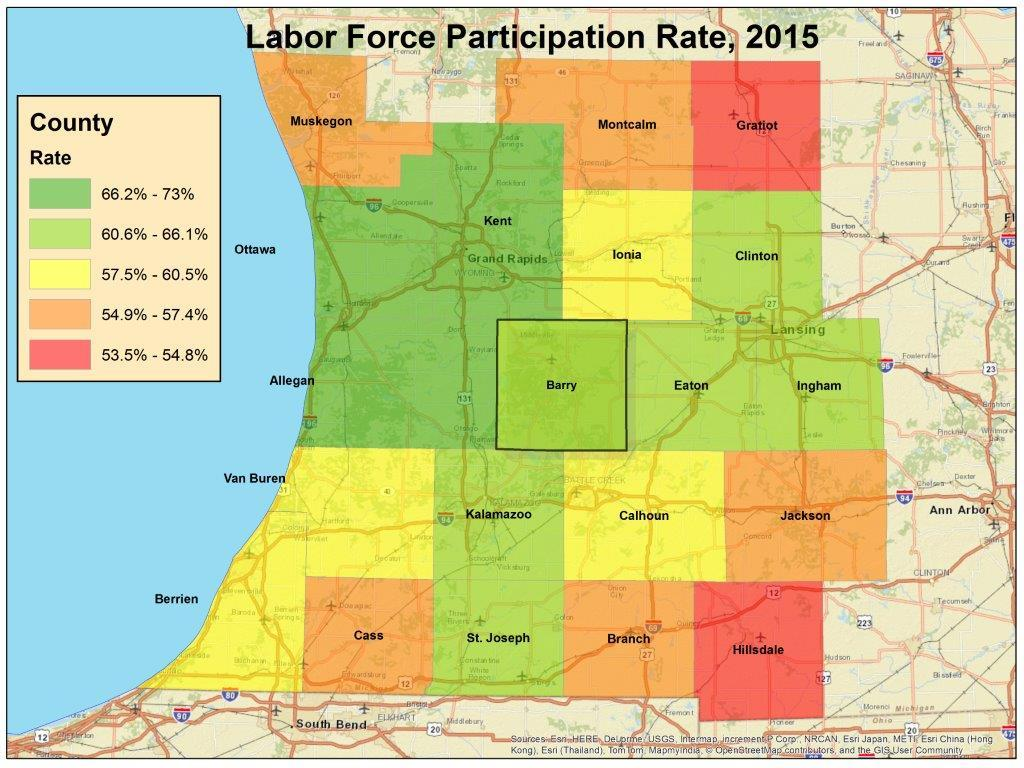 The national LFPR was 62.6 in 2015; Barry County was at 66.