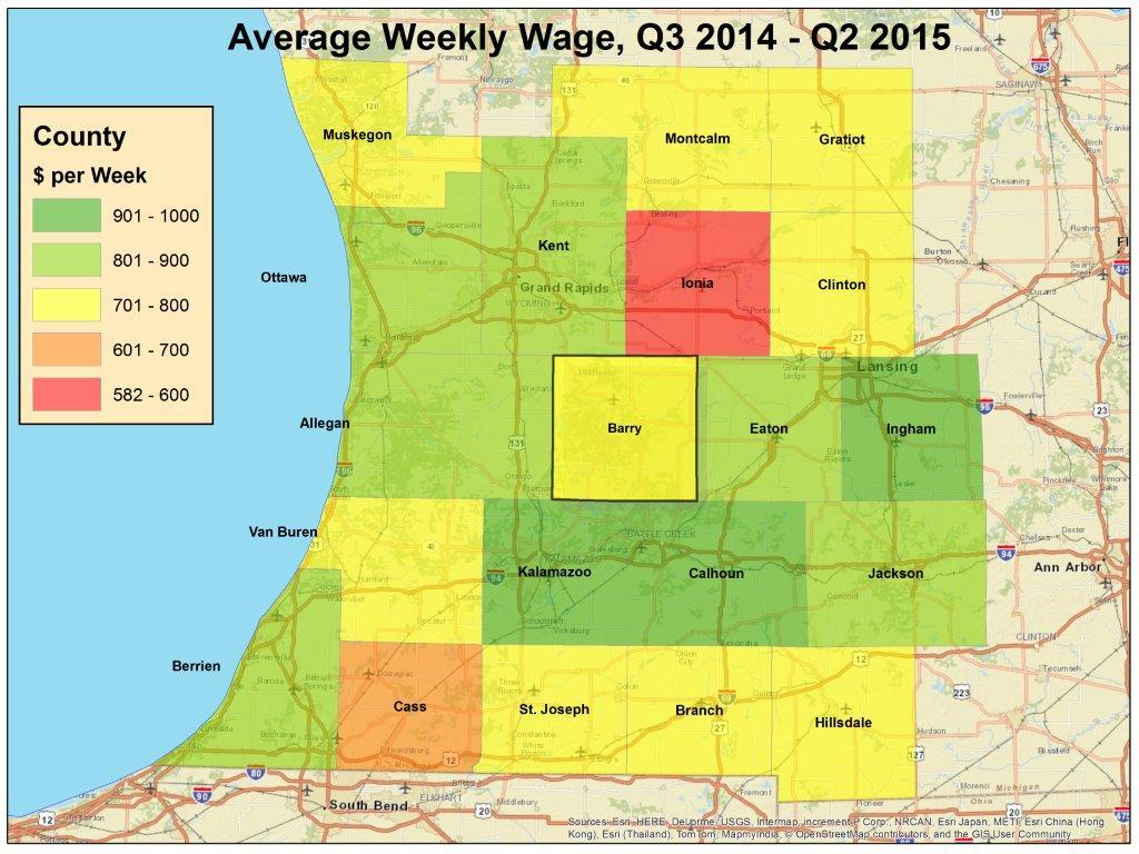 Wages in the region are right in the middle Source: Bureau of Labor