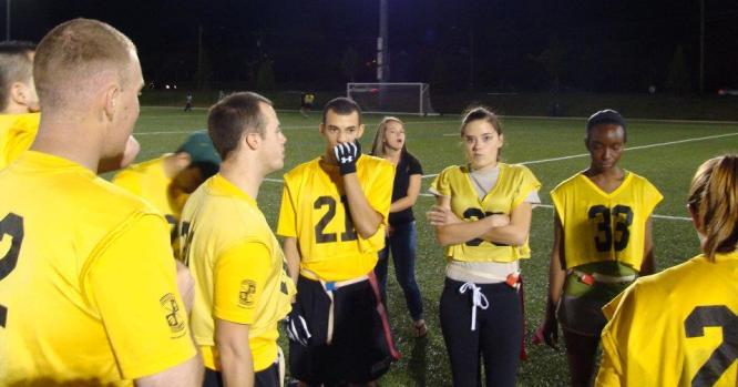 htm Flag Football: The 49er BN s football team displays determination as they show up and complete every game.