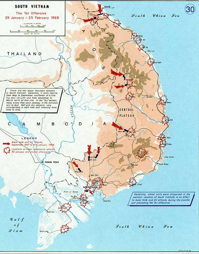 5. TET OFFENSIVE 1968 NV/Vietcong forces swept into SV, including its capital, Saigon.
