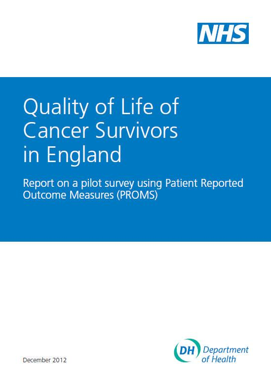 The impact of cancer and treatment Patient Reported Outcome Measures (PROMS) give insight to: the quality of life for those living